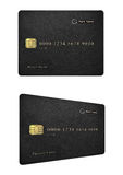 Black leather credit card design Stock Photography