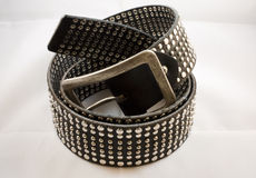 Black leather curled up. A black leather belt with nails on a white background Royalty Free Stock Image
