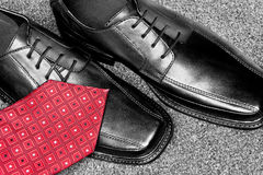 Black leather dress shoes Stock Photo