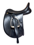 Black leather dressage saddle  isolated on white background Royalty Free Stock Photography