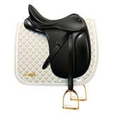 Dressage saddle. Black leather dressage saddle with white saddle pad isolated on white background Stock Photography