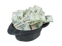 Black Leather Fedora Hat Full of Money Royalty Free Stock Photography