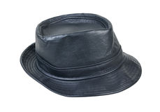Black Leather Fedora Hat Stock Image