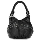 Black leather female bag isolated on white background. Rock styl Stock Images