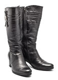 Black Leather Female Boots Royalty Free Stock Photography