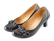 Black leather female shoes Royalty Free Stock Images
