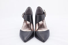 Black leather female shoes Royalty Free Stock Image