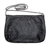 Black leather feminine bag with chain Royalty Free Stock Photo