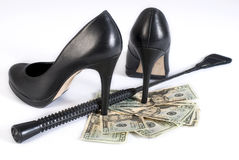 Black Leather Flogging Whip and money. Strict Black Leather Flogging Whip, high heels shoes and money on white background. Not stock images