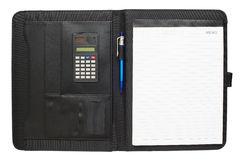 Black leather folder. With notepad, pen and calculator Stock Image
