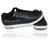 Black leather footwear. On white Stock Photos
