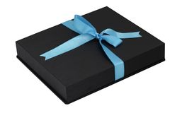 Black leather gift box with turquoise ribbon on white background. Black leather gift box with turquoise ribbon isolated on white background Royalty Free Stock Image