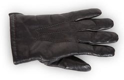 Black leather glove. On white background Stock Photos