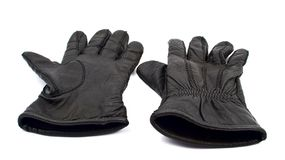 Black leather gloves Royalty Free Stock Images