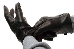 Black leather gloves Royalty Free Stock Photos