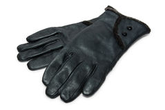 Black leather gloves with fur Royalty Free Stock Photography