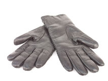Black leather gloves isolated Stock Images
