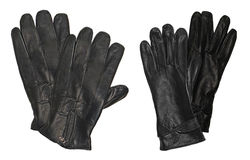 Black leather gloves. Man and woman leather gloves isolated on white Royalty Free Stock Photos