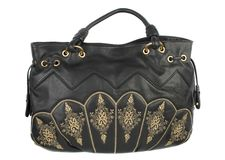 Black leather handbag Stock Photo