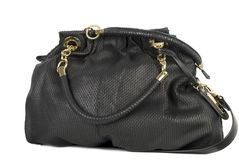 Black leather handbag Stock Images