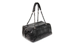 Black leather handbag. Womens black quilted leather handbag white isolated Stock Image