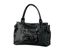 Black woman leather handbag isolated on white  Royalty Free Stock Photos