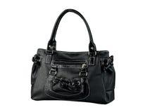 Black woman leather handbag isolated on white  Royalty Free Stock Photos