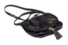 Black leather handbag Stock Photos