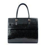 Black leather handbag  isolated on white. Royalty Free Stock Photography