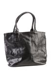 Black leather handbag. Stock Photo