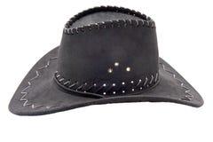 Black leather hat isolated on white background Stock Photo