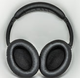 Black leather headphones Royalty Free Stock Photography