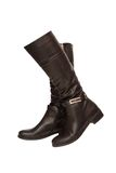 Black leather high boots royalty free stock photography