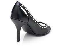 A black leather high heel shoe Stock Image