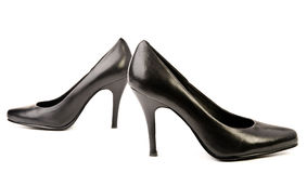 Black leather high heels pumps Stock Images