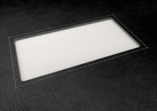 Black Leather With Inlaid Label Perspective Royalty Free Stock Images