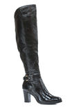 Black leather jackboot Royalty Free Stock Photos