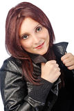 Black leather jacket Stock Photos