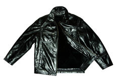 Black leather jacket Stock Images