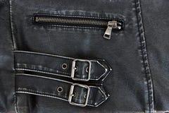 Black leather jacket detai Stock Image