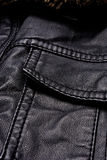 Black leather jacket details Stock Photo