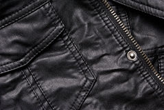 Black leather jacket details Royalty Free Stock Photos