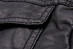 Black leather jacket details Stock Photography