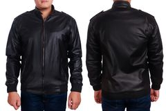 Black Leather Jacket Mockup Template. Blank leather jacket mock up, front, and back view, isolated on white. Asian male model wear plain black long sleeved royalty free stock photo