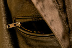 Black leather jacket pocket zipper Royalty Free Stock Images