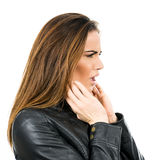 Black leather jacket. Royalty Free Stock Photos