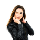 Black leather jacket. Stock Images
