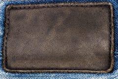 Black leather jeans label Stock Photos