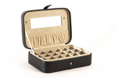 Black leather jewellery box with open lid. Luxury men's jewellery box. White background royalty free stock photo
