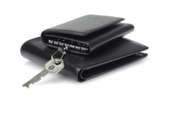 Black leather key caase and wallet Royalty Free Stock Photo